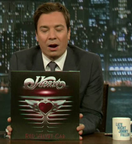 Vinyl copy in the hands of Jimmy Fallon (sorry Jimmy for the unfortunate timing in the screengrab)
