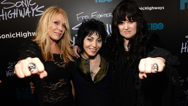 "NEW YORK, NY - OCTOBER 14:  Joan Jett (C) Nancy Wilson and Ann Wilson of Heart attend the premiere of Foo Fighters ""Sonic Highways"" at the Ed Sullivan Theater on October 14, 2014 in New York City.  (Photo by Kevin Mazur/WireImage for HBO)"